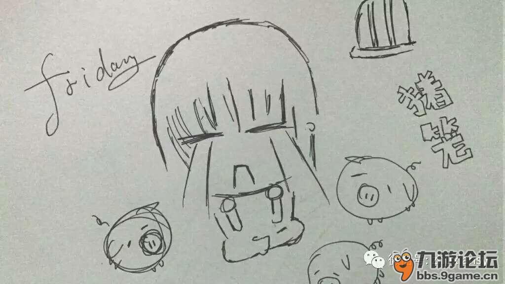 个可爱的妹子用简笔画描绘出了你的一周