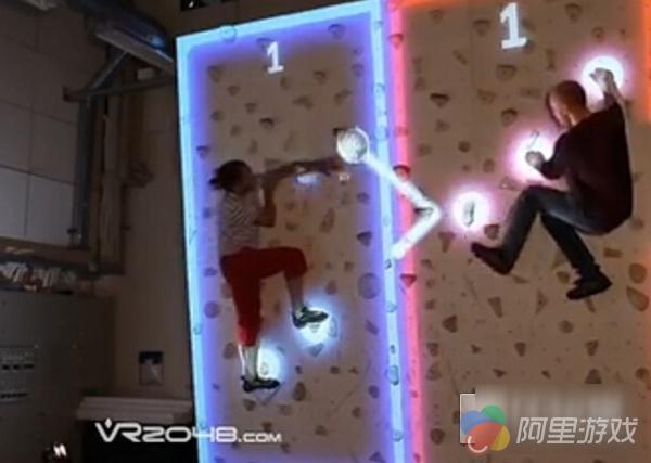 AR攀岩游戏首亮相 双人PK边玩游戏边健身_九